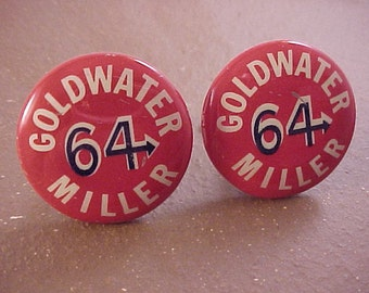 Vintage Goldwater Campaign Buttons Cuff Links - Free Shipping to USA
