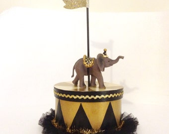 Black and Gold Elephant Party Box/Gift Box/Centerpiece/Cake Topper