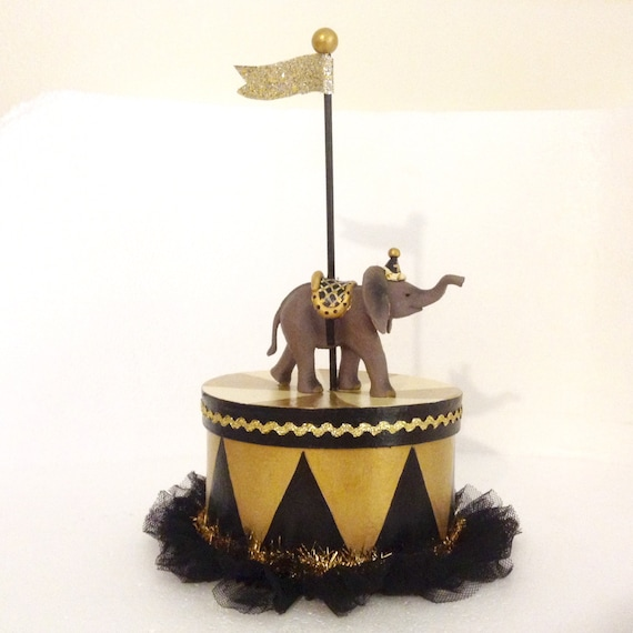 Black and gold elephant party box gift centerpiece cake