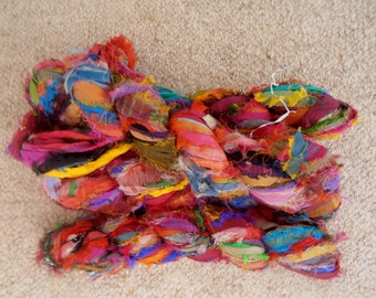 recycled silk  ribbon  knitting crochet craft embellishment yarn multicolor 4 skeins approx 400 grams