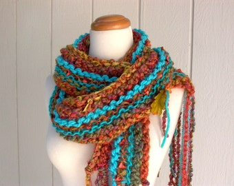 navajo sunset. chunky knit scarf . handknit rustic boho vegan friendly scarf . warm winter scarf . turquoise copper rust gold