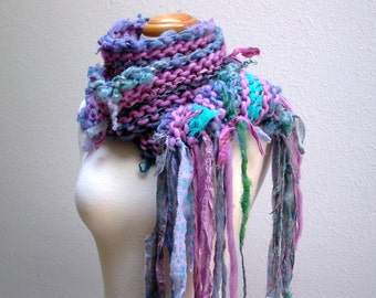 daydreams. chunky handknit scarf . handspun art yarn merino wool curly locks sari silk . winter fairy knit scarf . orchid pink periwinkle