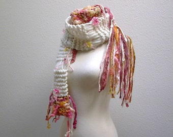 cosmos. handknit art yarn scarf . winter flower garden knit wool fiber art scarf . curly locks sari silk ribbons cream pink yellow orange