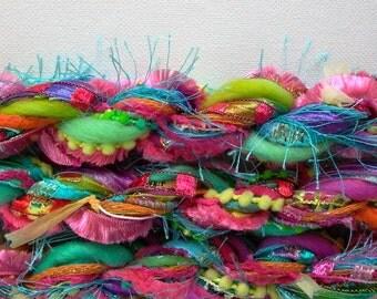 summer lovin' fringe effects™ fiber art yarn bundle 21yds specialty yarns ribbons mixed brights yarn pack turquoise pink yellow orange