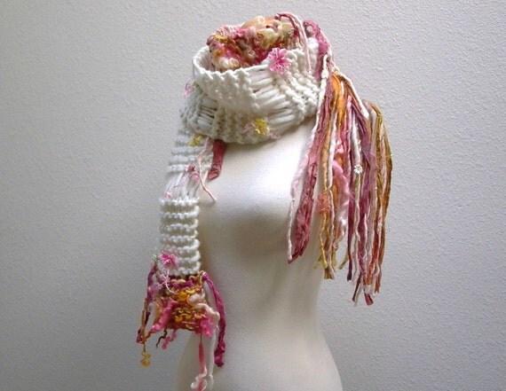 Cosmos Handknit Art Yarn Scarf Winter Flower Garden Knit