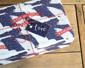 Starry Swans Wrapping Paper