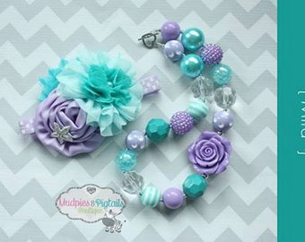 Chunky Necklace or headband { Mira } aqua, lavender mermaid, starfish, ocean Nautical First birthday, Summer Cake smash photography prop