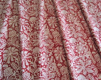 Large Fabric Swatch Bundle - Assortment of sizes - Red and Ivory Handprinted Cotton from India