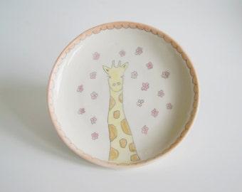 Giraffe Pottery Bowl - Porcelain Giraffe Bowl - Handmade Giraffe Bowl - Ceramic Giraffe Bowl