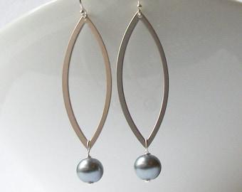 Pearl Grey Wreath Dangle  Earrings, Jewelry by Vanessa Perini