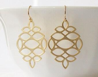 Summer Sale! Gold Drop Dangle Earrings, Filigree Gold Dangle Earrings