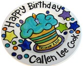 """CUSTOM Large 10"""" Birthday Cake Plate Personalized great for TWINS"""