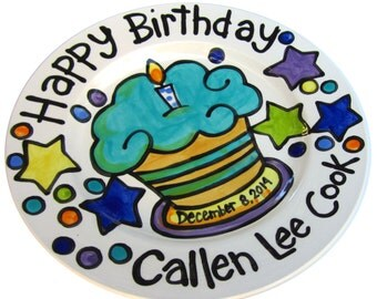 "CUSTOM Large 10"" Birthday Cake Plate Personalized great for TWINS"