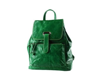 SALE - Green Leather Backpack, Large, Women Backpack, Rucksack, artoncrafts