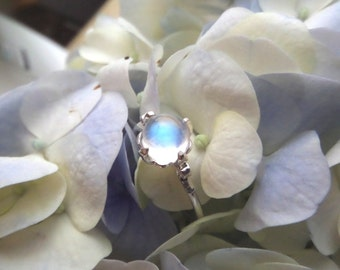 The Lotus Ring -- Sterling Silver Moonstone Ring -- Top Quality (Gem Quality) Blue Sheen Moonstone - Ready to Ship