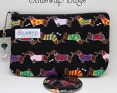 Daschund Weiner Dog Wristlet and Mirror Set