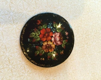 Vintage Russian Lacquer Hand Painted Artist Signed Floral Brooch Jewelry