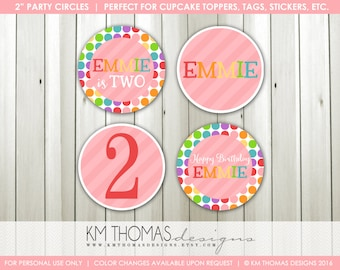 Rainbow Party Circles - Cupcakes Toppers - Gift Tags - Party Favor Tags - Party Decorations - Rainbow Stickers - BD152