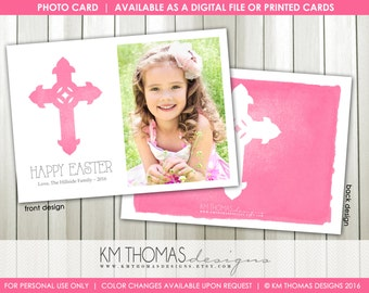 Easter Printable Photo Card : Personalized Photo Easter Card - Religious Cross - Easter Cross - Watercolor Cross - Item EA104