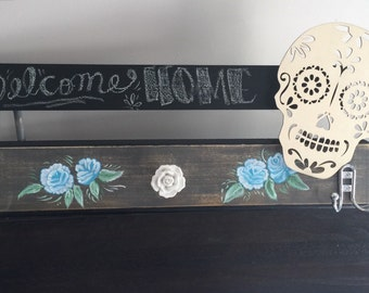 Chalk and Wood coat rack, skull coat rack, day of the dead coat and hook rack