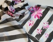 Hand Painted Silk Scarf - Handpainted Scarves Black White Hot Pink Magenta Fuchsia Flowers Daisy Stripes Striped Hand Dyed Bold