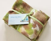 Hand Dyed Kitchen Towels - Flour Sack Tea Towel Set of 2 - Tie Dyed Dish Towels Olive Avocado Green Brown Tan Beige White