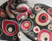 Hand Painted Silk Scarf - Handpainted Scarves Black Dark Red Ruby Tan Beige Ecru Khaki White Polka Dot Circles Abstract