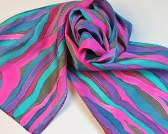 Hand Painted Silk Scarf - Handpainted Scarves Hot Pink Magenta Fuchsia Teal Turquoise Blue Purple Dark Red Navy Gray Grey Abstract Stripes