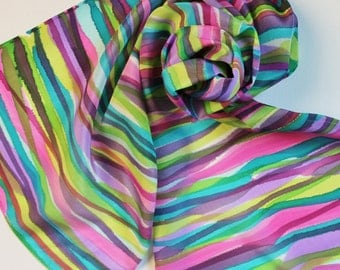 SALE Imperfect Hand Painted Silk Scarf - Handpainted Scarves Lime Garden Green Eggplant Purple Magenta Pink Teal Turquoise Light Blue