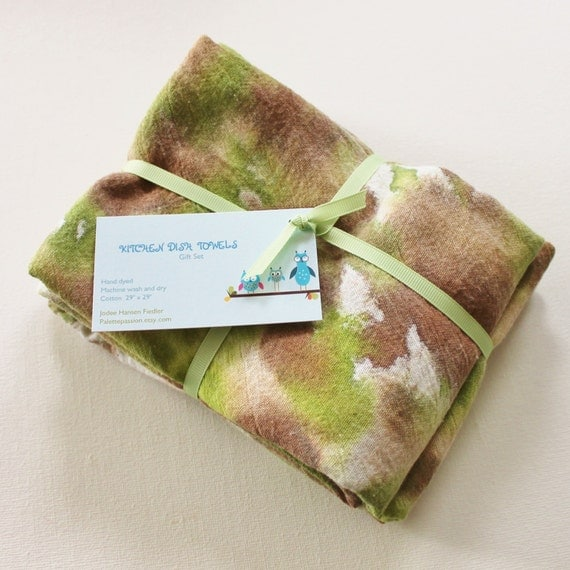 Vinegar Dish Rags: Hand Dyed Kitchen Towels Flour Sack Tea Towel Set Of 2 Tie