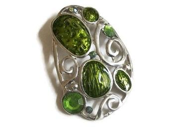 Vintage Green Enamel and Rhinestones Pendant