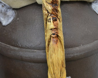 Hawthorne Walking Cane - Carved Wood Spirit Face Cane - Hand Carved walking cane - mountain man - functional art - ren faire - 1372