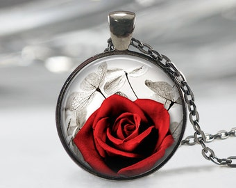 Red Rose  Glass Pendant -Red Rose Jewelry -Rose Necklace - Art Pendant - Red Rose Necklace-Red Rose Pendant- Rose Charm-Flower Glass Pendant
