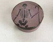 Paper Mache Primitive Lavender Skeleton Halloween Box