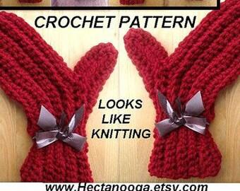 MITTENS crochet pattern - #120, Size 2, to Adult X-Large, instant digital download, toddler, teens, men, women, sideways mittens. knit look