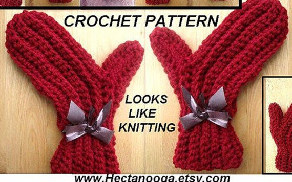 MITTENS Crochet Pattern 120 Size 2 To Adult X-Large