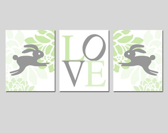 Bunny Rabbit Nursery Wall Art Flowers Love Baby Girl Nursery Art Trio - Set of Three 8x10 Prints - CHOOSE YOUR COLORS - Green, Gray and More