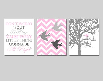 Bird Family Nursery Art Trio - Chevron Birds, Bob Marley Lyrics, Family Tree - Don't Worry 'Bout A Thing Lyrics - Set of Three 8x10 Prints
