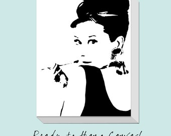 Audrey Hepburn Silhouette CANVAS ART Print - Teen Bedroom Decor Art - Canvas Gallery Wrap Ready to Hang - Choose Your Size and Colors