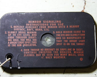 Vintage SIGNAL MIRROR- Survival Tool- Boy Scouts- Reflecting Mirror for Signaling- Hand Held Mirror