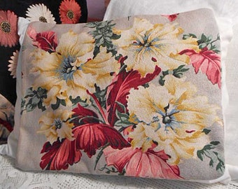 Radiant Yellow HIBISCUS BARKCLOTH PILLOW Cover Sham Brilliant Red Leaves Piping, Handmade Bungalow Accent, Rare 1940s Spectrum Print 19 x 23
