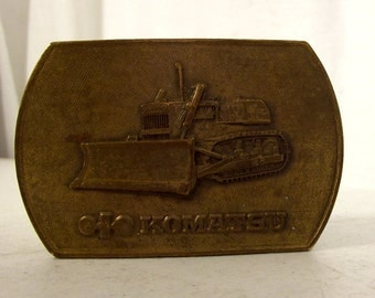 Vintage Komatsu Bulldozer Belt Buckle Dozer Tractor Heavy Equipment Operator