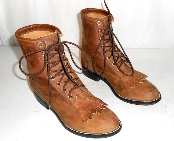 Brown Justin Lace Up Cowboy Boots size 4 D / womens 5.5