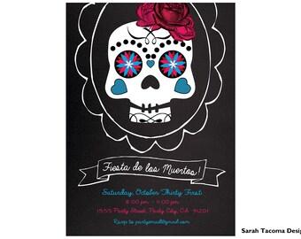 Dia De Los Muertos Invite - Halloween Skeleton Party Invitation - Skull - Day of the Dead invite. Dia  de los muertos Invitation