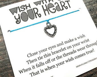 Wish With All Your Heart - Available In Over 100 Different Colors!!!  (Lace Design Heart - Antique Silver)