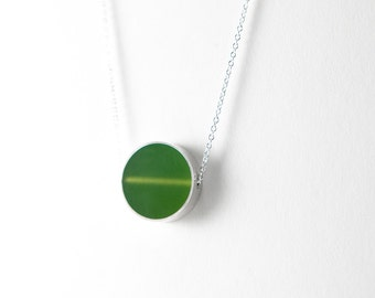 Don't Stop Necklace -- Sterling silver and moss green resin circle pass thru pendant holiday christmas gift