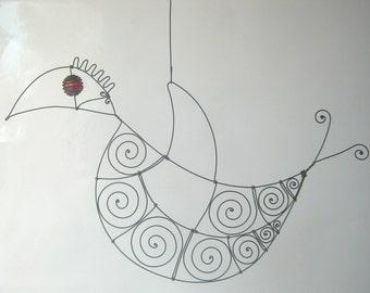 Wire Bird  In Red / Metal Sculpture