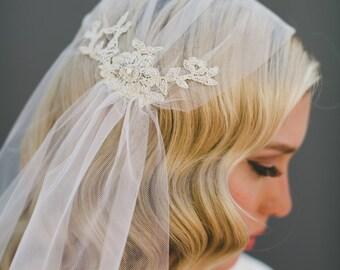 Gold Lace Juliet Bridal Cap Wedding Veil, Alencon Lace Veil,  Silver Lace Adorned Veil, Bohemian Veil, Great Gatsby 1920's Veil, Style #1109