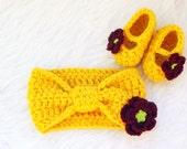 Yellow Headband Set, Flower Headband, Crochet Baby Booties, Baby Girl Headband, Baby Girl Booties, Newborn Headband, Infant Headbands