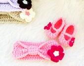 Pink Baby Headband Set, Flower Headband, Crochet Baby Booties, Baby Girl Headband, Pink Baby Booties, Newborn Headband, Infant Headbands